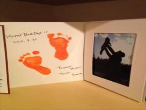 手形と親子写真のプレゼント